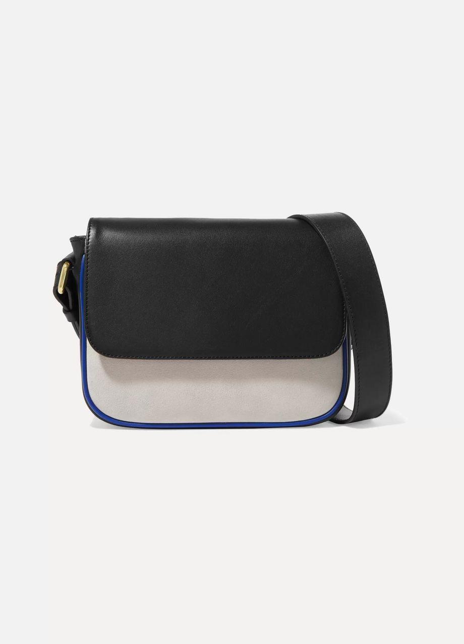 ZOOBEETLE Paris Dauphine color-block leather and suede shoulder bag