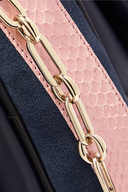 ZOOBEETLE Paris Panthéon color-block leather and suede shoulder bag
