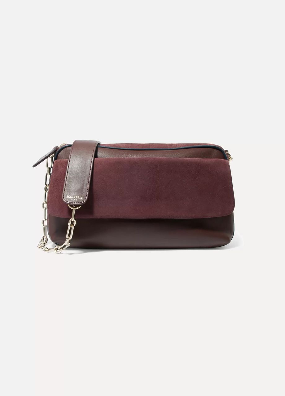 ZOOBEETLE Paris Pantheon suede, leather and watersnake shoulder bag