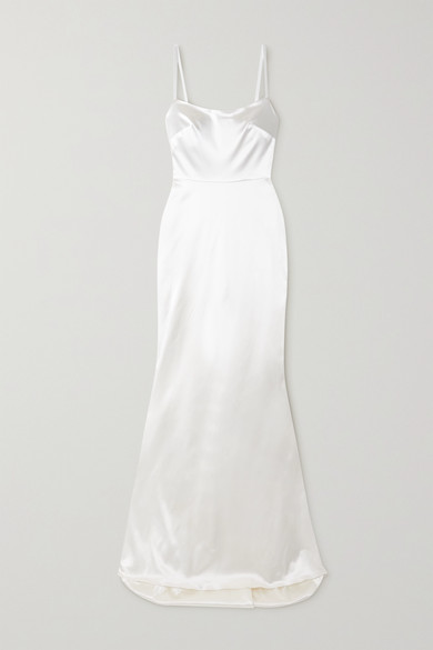 HALFPENNY LONDON Dion Stretch-Duchesse Satin Gown in Ivory