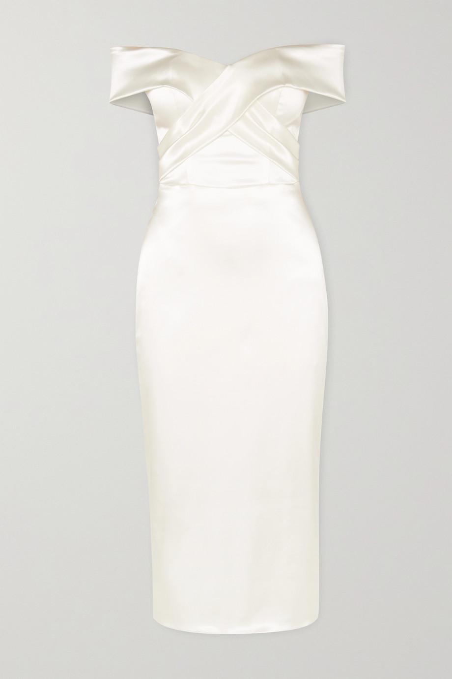 Halfpenny London Kelly off-the-shoulder satin midi dress