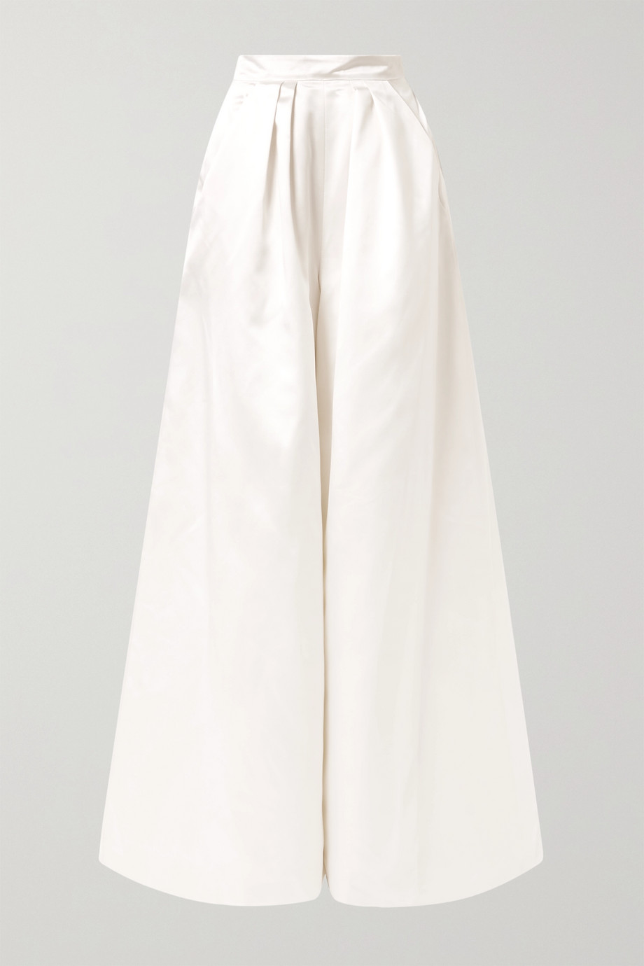 Halfpenny London Houston pleated duchesse-satin wide-leg pants