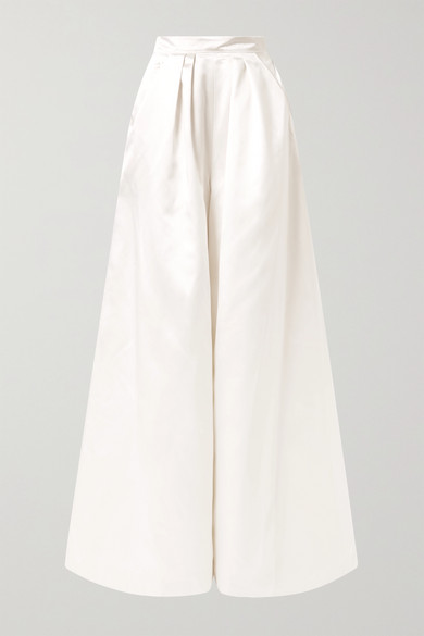 HALFPENNY LONDON Houston Pleated Duchesse-Satin Wide-Leg Pants in White