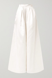 Houston pleated duchesse-satin wide-leg pants