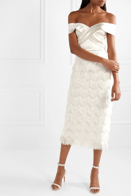 Turner fringed satin skirt