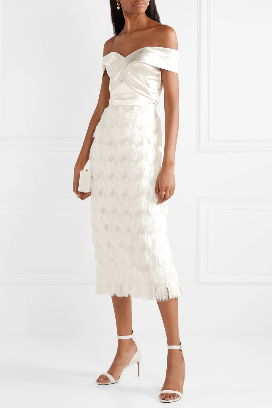Halfpenny London Turner fringed satin skirt