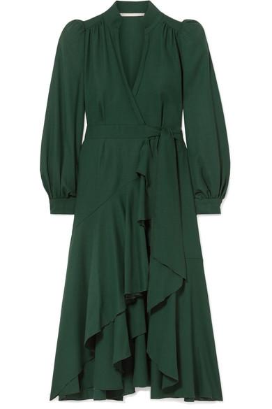 ANNA MASON Stella Ruffled Wool-Crepe Wrap Dress in Dark Green