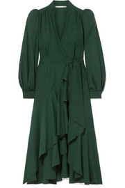 Anna Mason Stella ruffled wool-crepe wrap dress