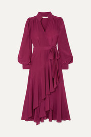 Anna Mason Stella ruffled silk crepe de chine wrap dress