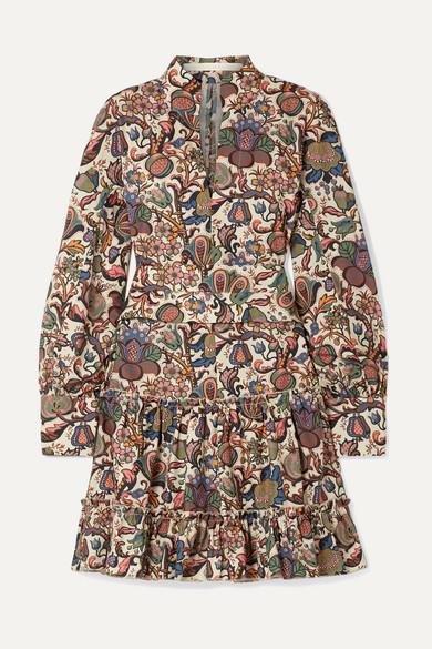 ANNA MASON Vita Printed Cotton-Poplin Mini Dress in Brown