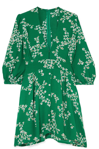 Faithfull The Brand - Margot Floral-print Crepe Mini Dress - Green
