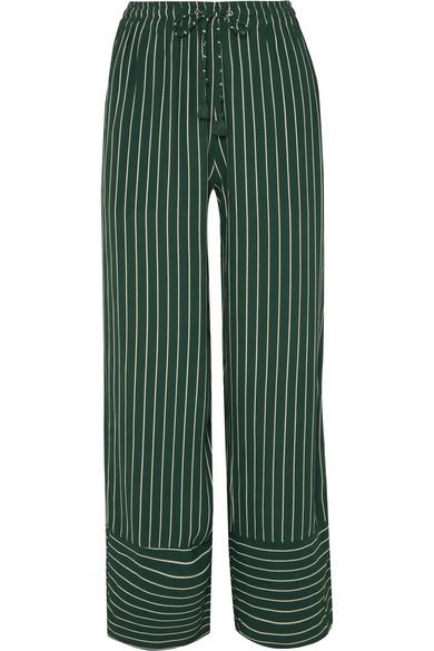 Havana High Waist Stripe Pants, Emerald