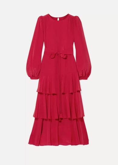 ANNA MASON Tiered Silk Crepe De Chine Midi Dress in Crimson