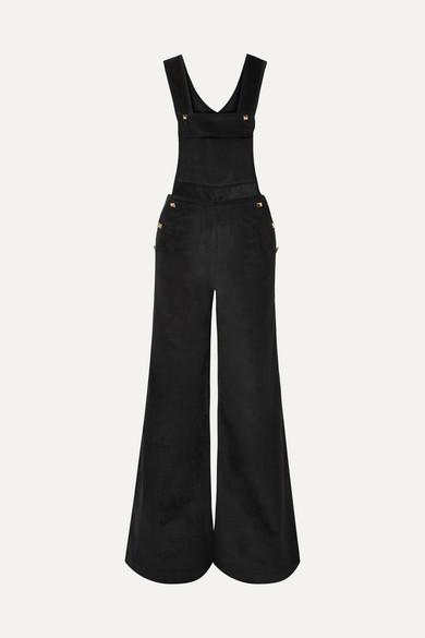 ANNA MASON Annie Studded Cotton-Corduroy Jumpsuit in Black