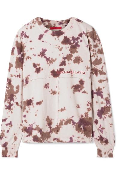 ECKHAUS LATTA | Eckhaus Latta - Printed Tie-dyed Cotton-jersey Top - Beige | Goxip