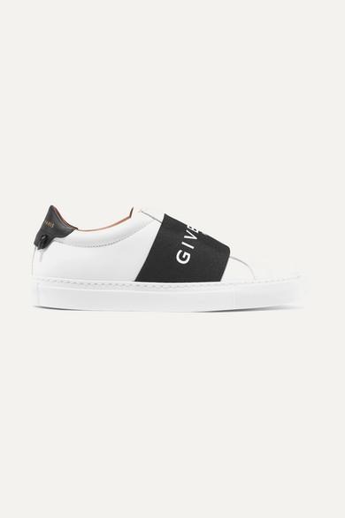Urban Street Logo-Print Leather Slip-On Sneakers in White