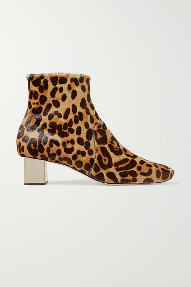 Clarence Leopard Print Calf Hair Ankle Boots by Nanushka
