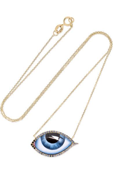 LITO Tu Es Partout 14-karat gold, enamel, diamond and sapphire necklace