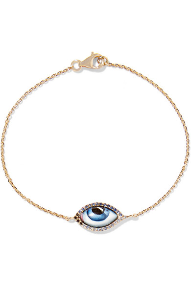 LITO Tu Es Partout 14-karat gold, enamel and multi-stone bracelet