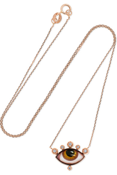 LITO Tu Es Partout 14-karat rose gold, enamel and diamond necklace