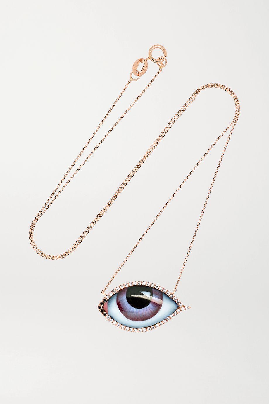 Lito Tu Es Partout Kette aus 14 Karat Roségold mit Emaille und Diamanten