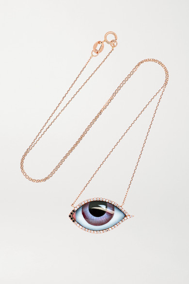 Lito TU ES PARTOUT 14-KARAT ROSE GOLD, ENAMEL AND DIAMOND NECKLACE