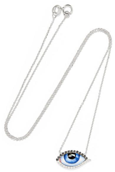 LITO Tu Es Partout 14-karat white gold, enamel and diamond necklace