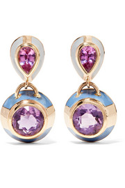 14-karat gold, sapphire, amethyst and enamel earrings