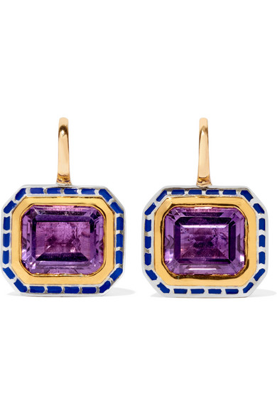 ALICE CICOLINI 22-Karat Gold, Enameled Sterling Silver And Amethyst Earrings