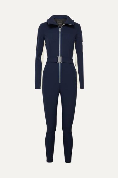 The Aspen Striped Stretch Ski Suit in Navy