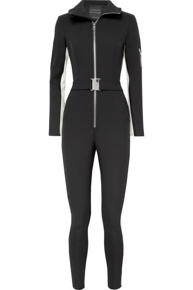 The Aspen Striped Ski Suit in Black