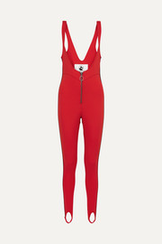 The Vail striped stirrup ski suit