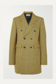 Double-breasted houndstooth wool jacket