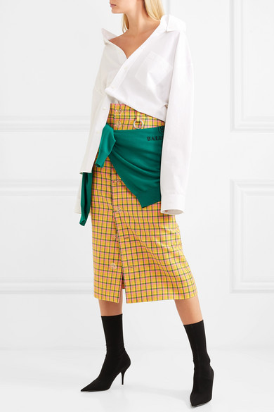 fa55900249 Balenciaga | Checked wool midi skirt | NET-A-PORTER.COM