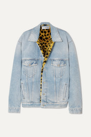 Balenciaga Oversized leopard-print faux-fur trimmed denim jacket