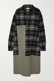 Balenciaga Oversized paneled houndstooth and checked wool midi dress