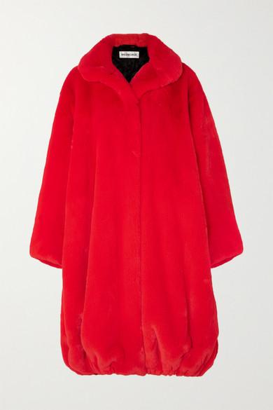 BALENCIAGA | Balenciaga - Oversized Faux Fur Coat - Red | Goxip