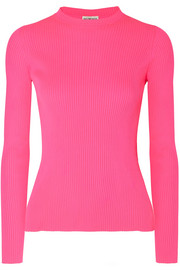 Neon ribbed-knit top