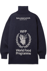 Balenciaga + World Food Programme oversized intarsia wool turtleneck sweater