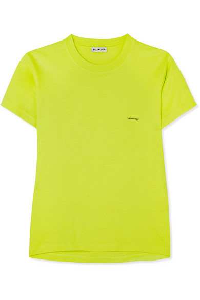 Balenciaga - Printed Cotton-jersey T-shirt - Yellow