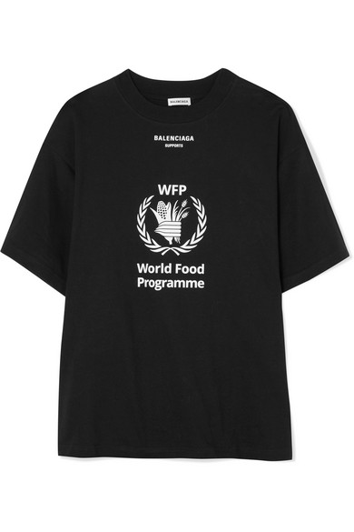 + World Food Programme Printed Cotton-Jersey T-Shirt in Black