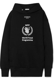 Balenciaga + World Food Programme oversized printed cotton-blend jersey hoodie