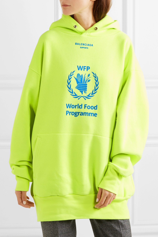 Yellow World Food Programme Printed Neon Cotton Blend Jersey Hoodie Balenciaga Net A Porter