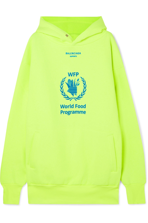 Gelb World Food Programme Neonfarbener Hoodie Aus Jersey Aus Einer Baumwollmischung Mit Print Balenciaga Net A Porter