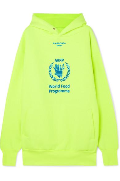 72d74626 Balenciaga   + World Food Programme printed neon cotton-blend jersey hoodie    NET-A-PORTER.COM