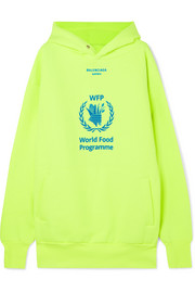 Balenciaga + World Food Programme printed neon cotton-blend jersey hoodie