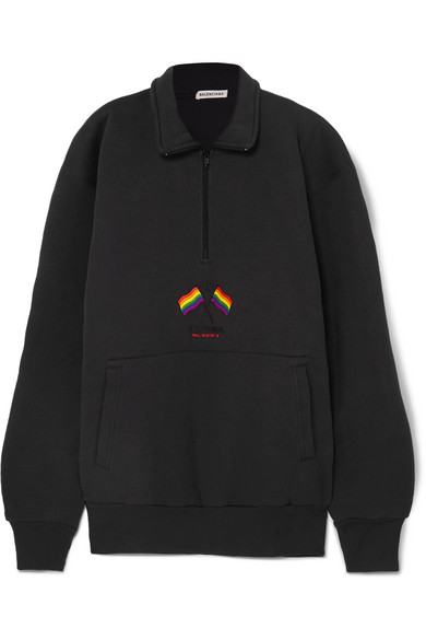 Oversized Embroidered Cotton Blend Jersey Sweatshirt by Balenciaga