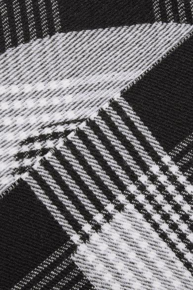 Balenciaga Accessories Fringed checked intarsia wool scarf