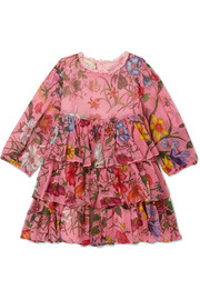 Months 6 - 36 tiered floral-print silk-crepon dress