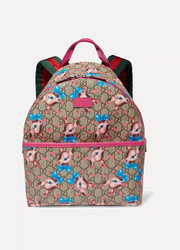 Printed coated-canvas backpack